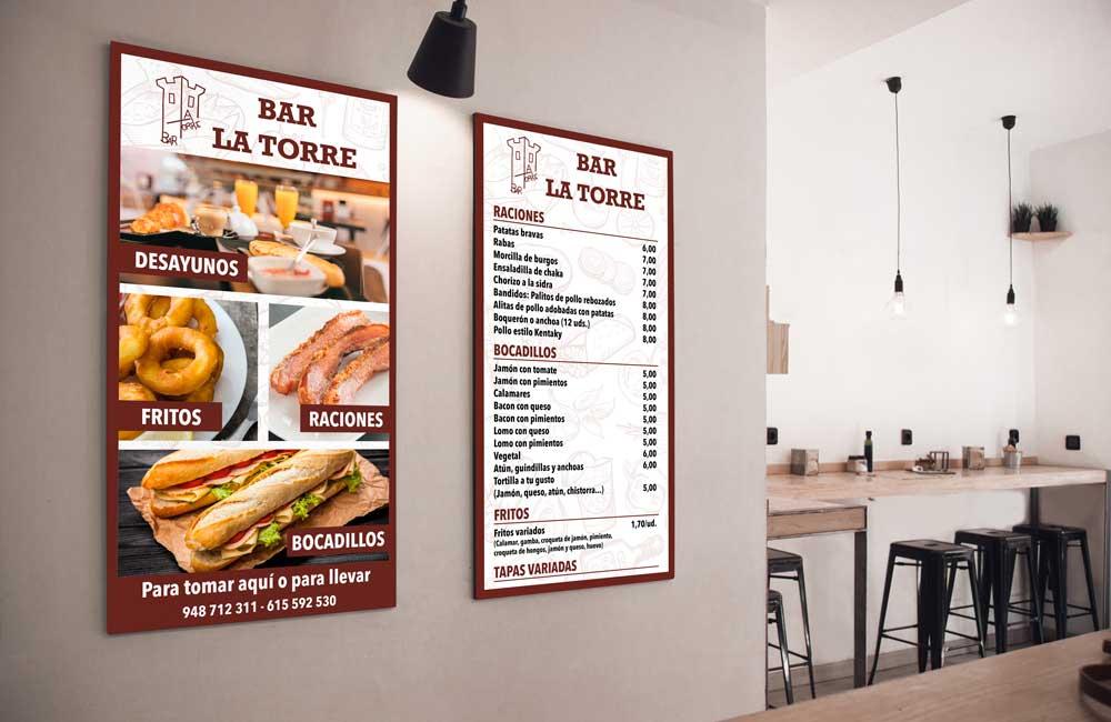 Foto de dos carteles de una cafetería