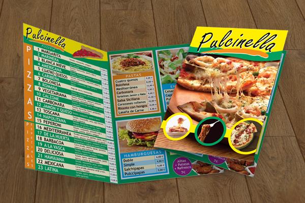 Foto de una carta de pizzería