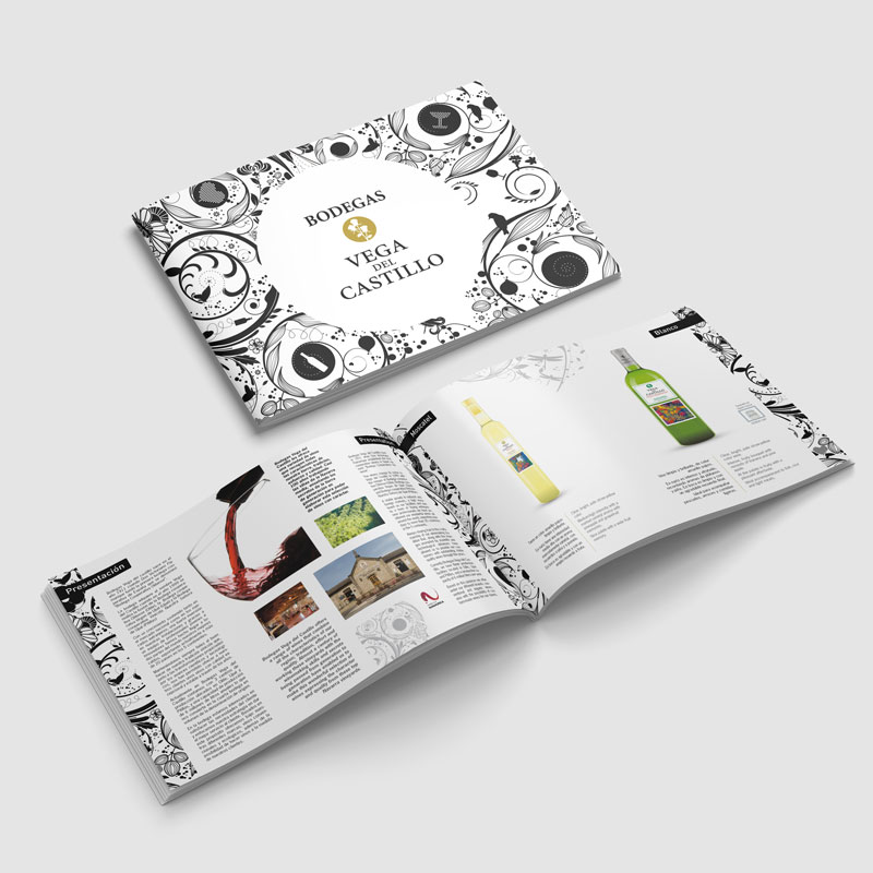Foto de portada e interior de un catálogo de vinos