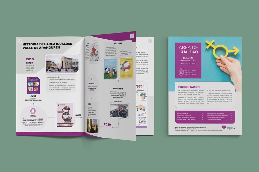 Fotografía de la portada y del interior del Boletín informativo dle Valle de Aranguren.