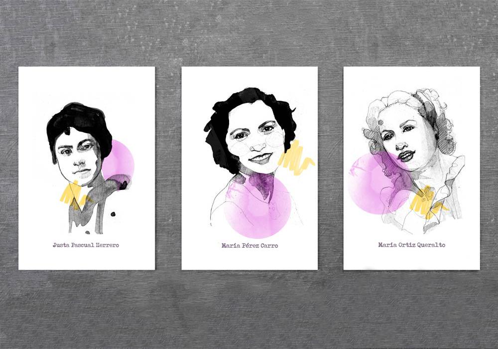 Fotografía de una pared con 3 carteles en pvc de mujeres